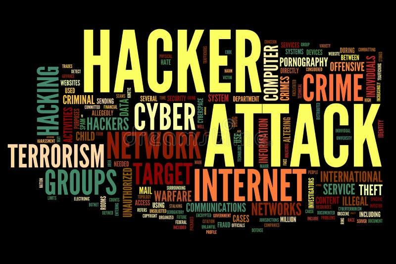 Ataque del pirata informático en nube de la etiqueta de la palabra ilustración del vector