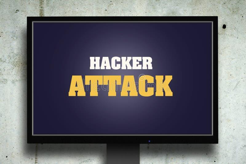 Ataque del pirata informático La inscripción en el monitor Fondo concreto gris Concepto de la seguridad ordenadores foto de archivo