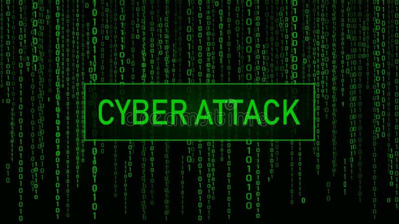 Ataque do Cyber cortar Matriz verde do fundo de Digitas C?digo de computador bin?rio Moldes do erro do tela de computador ilustração royalty free