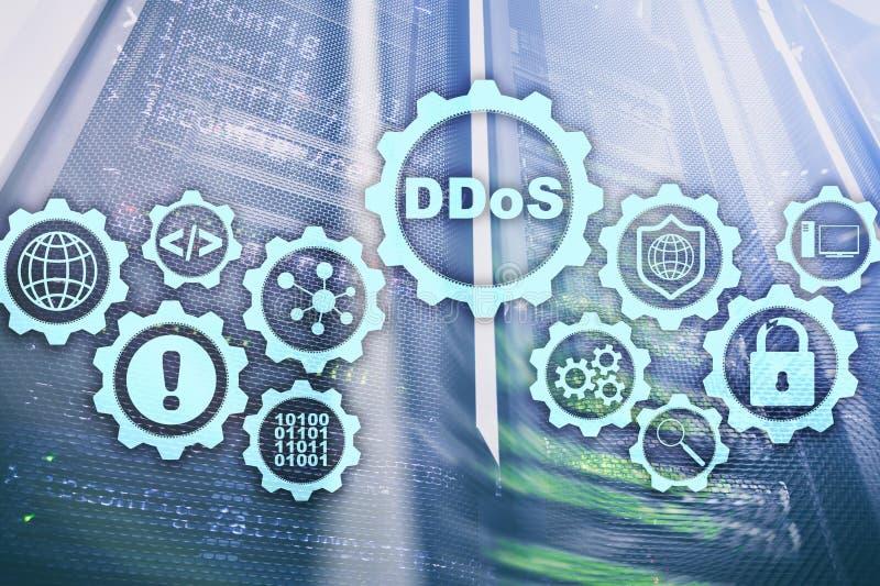 Ataque do Cyber de DDoS Conceito da tecnologia, do Internet e da rede da prote??o Fundo do datacenter do servidor foto de stock