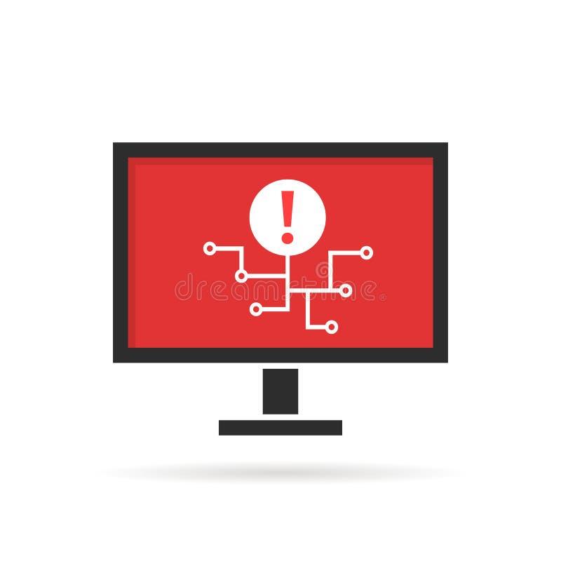 Ataque do Cyber na propagação do computador pessoal ou do vírus ilustração do vetor