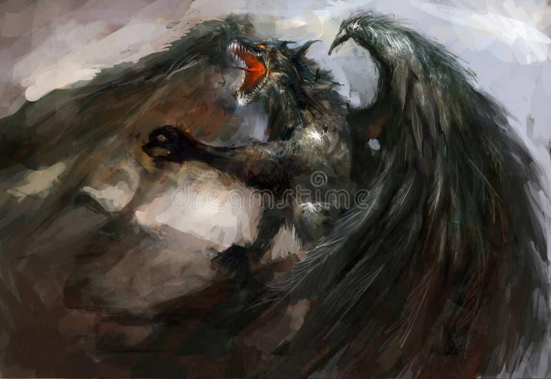 Ataque do dragão ilustração royalty free