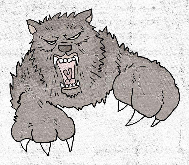 Ataque do lobo ilustração royalty free