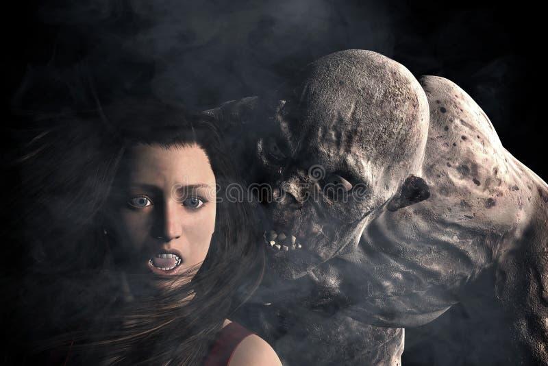 Ataque do monstro à mulher na obscuridade ilustração do vetor