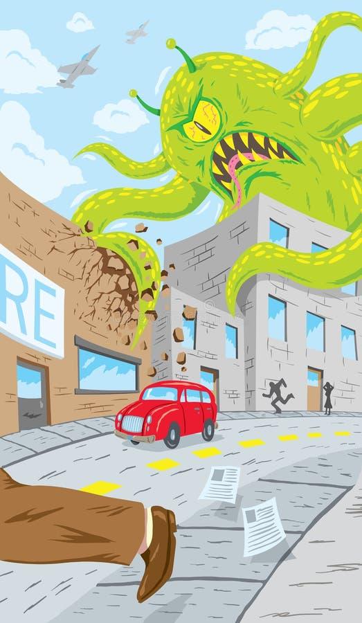 Ataque do monstro ilustração do vetor