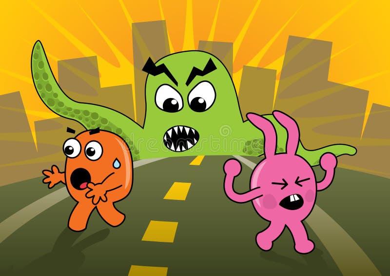 Ataque do monstro! ilustração royalty free