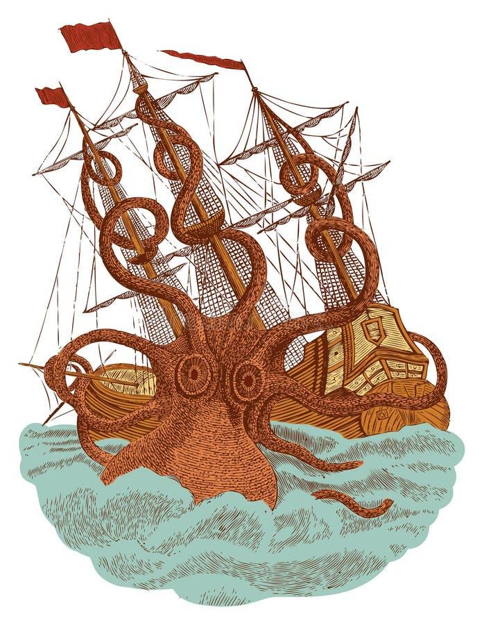 Ataque do monstro de Kraken ilustração stock