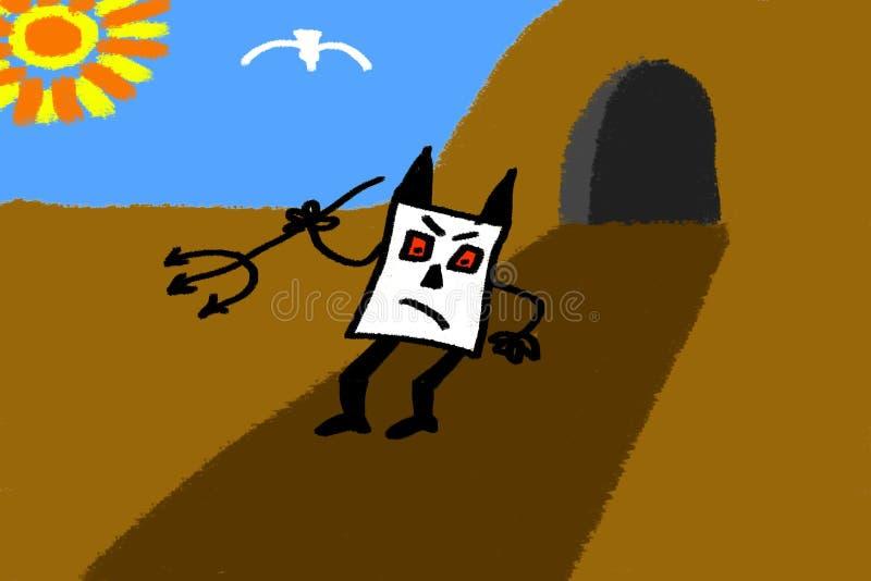 Ataque do monstro do giz da caverna que esboça a ilustração ilustração do vetor