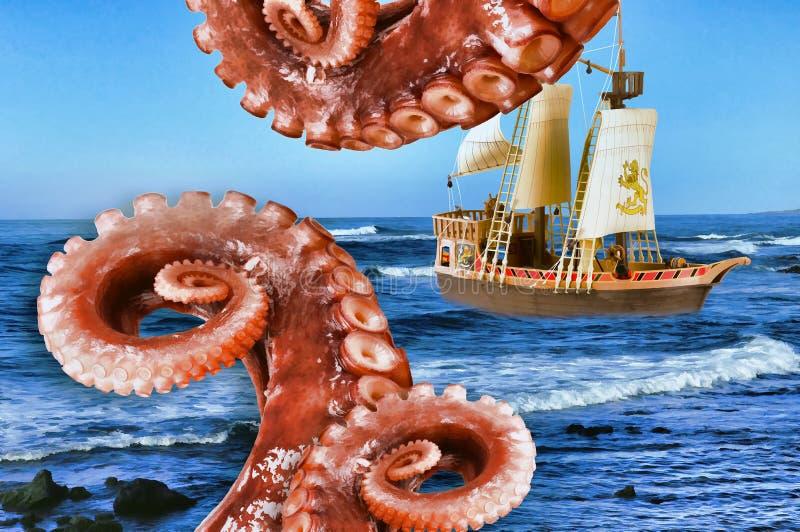 Ataque do monstro no navio ilustração do vetor