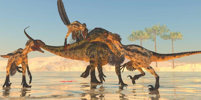 Ataque do Tenontosaurus ilustração royalty free