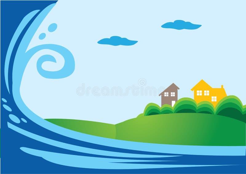 Ataque do tsunami ilustração stock