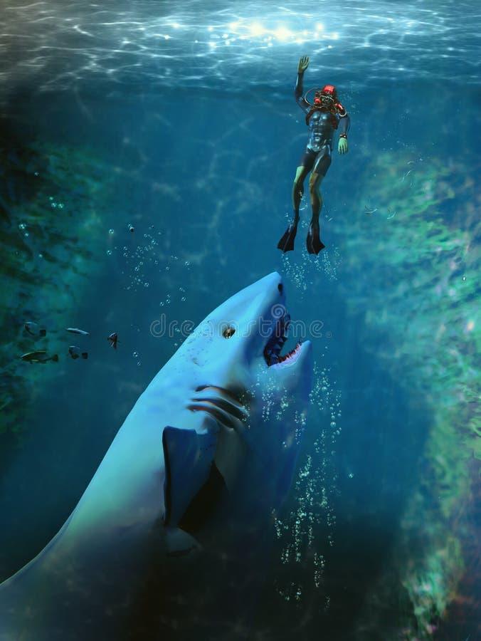 Ataque do tubarão ilustração stock