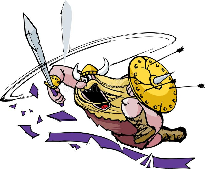 Ataque enojado de Vikingo stock de ilustración