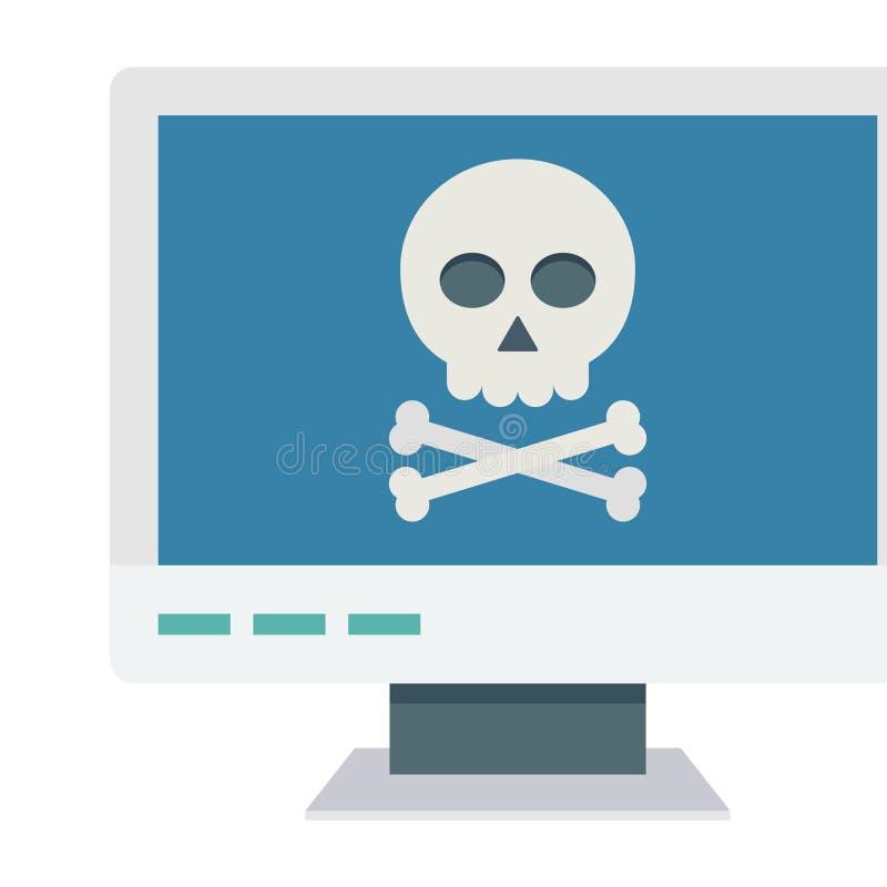 Ataque informático, icono del vector de color del delito cibernético que puede modificar o editar fácilmente stock de ilustración