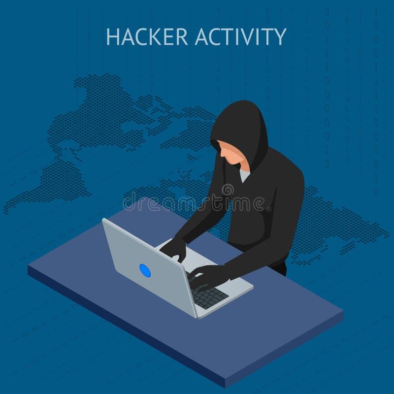 Ataque isométrico do hacker do Internet do vetor e conceito pessoal da segurança de dados Tecnologia de segurança informática Spa ilustração do vetor