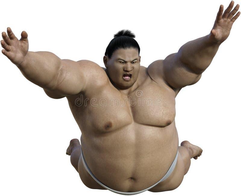 Ataque japonés del luchador del sumo, aislado, Japón ilustración del vector