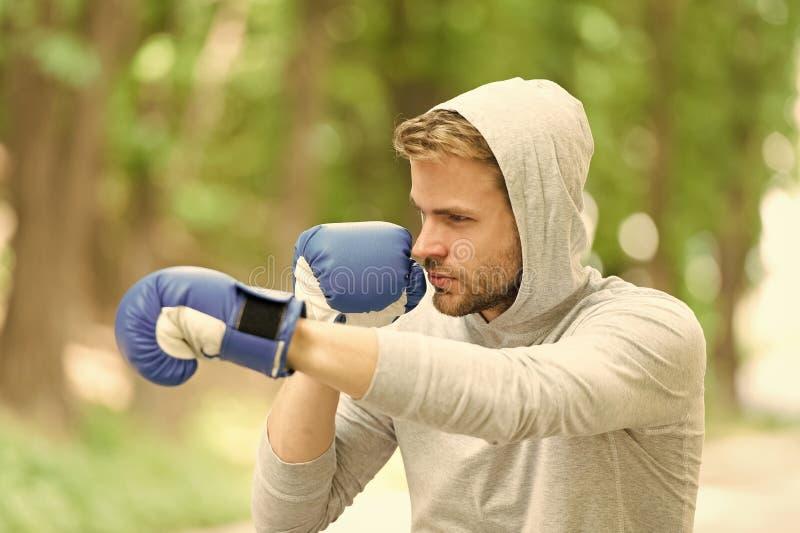 Ataque o defienda esté siempre listo Guantes de boxeo de entrenamiento concentrados deportista Guantes concentrados atleta del de foto de archivo