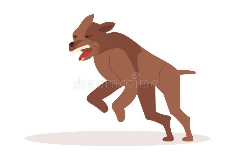 Ataque peligroso agresivo del perro ilustración del vector