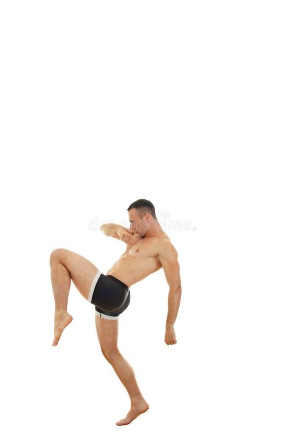 Ataque pelo lutador final profissional foto de stock