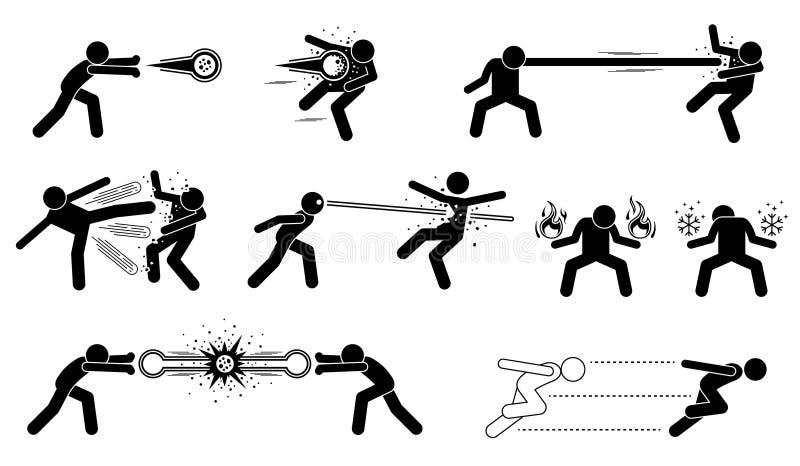 Ataque poderoso especial dos caráteres cômicos ilustração stock