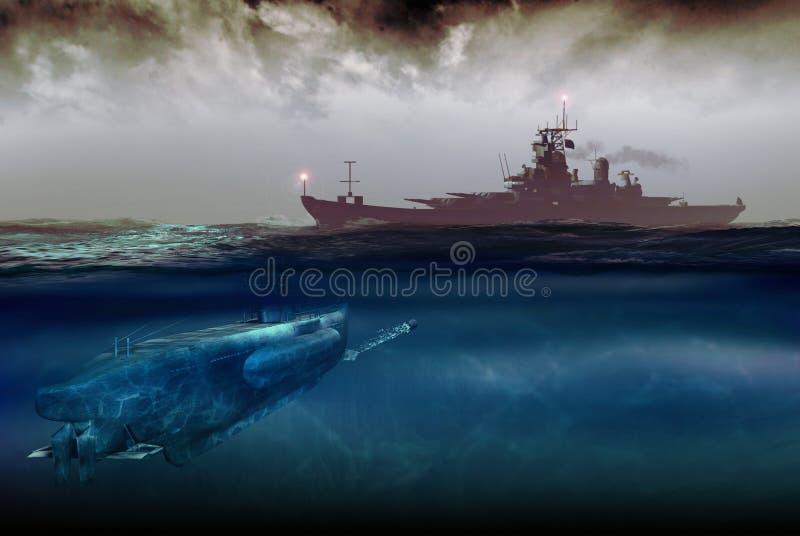 Ataque submarino ilustración del vector