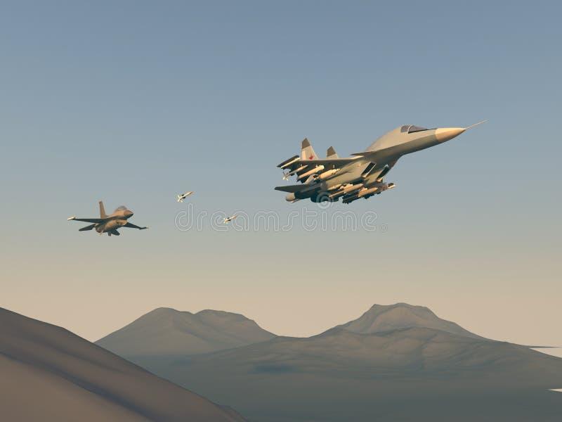 Ataque turco do lutador no bombardeiro do russo O ataque dos aviões turcos no russo aplana Ilustração da quadriculação Gráfico do ilustração stock