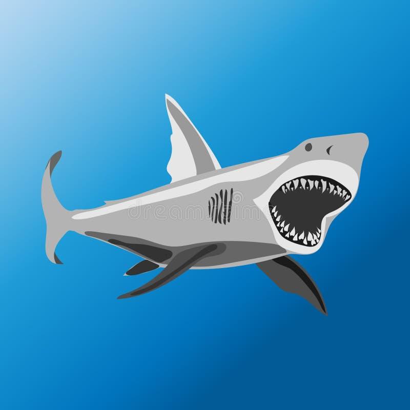 Ataques del tiburón en la profundidad del océano foto de archivo