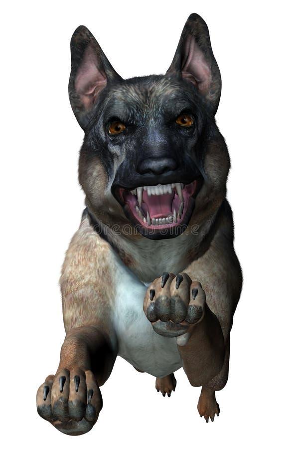 Download Ataques Do Pastor Alemão - Inclui O Trajeto De Grampeamento Ilustração Stock - Ilustração de cão, vicious: 109073
