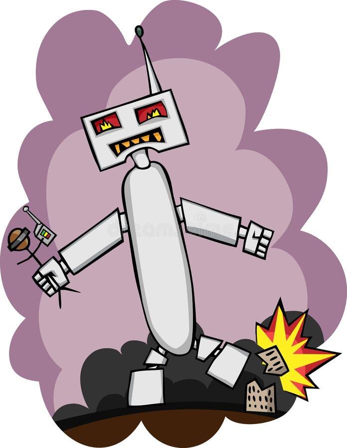 Ataques gigantes do robô ilustração royalty free