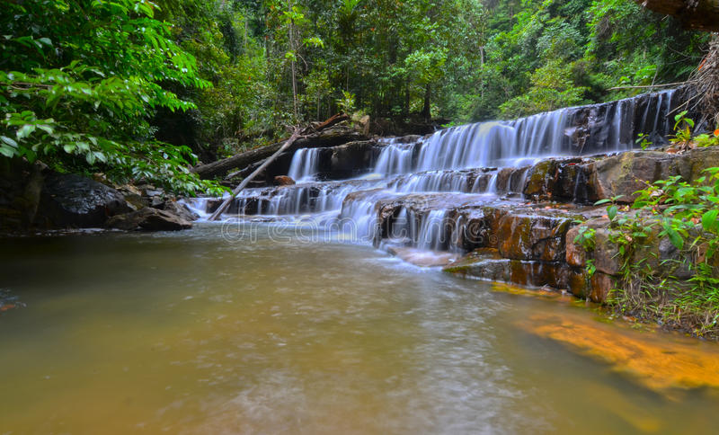 Atas Pelangi Waterfall in Pahang, Malaysia stock photos