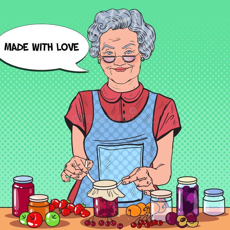 Atasco de Art Senior Woman Making Homemade del estallido Consumición sana stock de ilustración