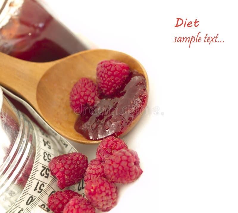Atasco de frambuesas, concepto de la dieta fotografía de archivo libre de regalías