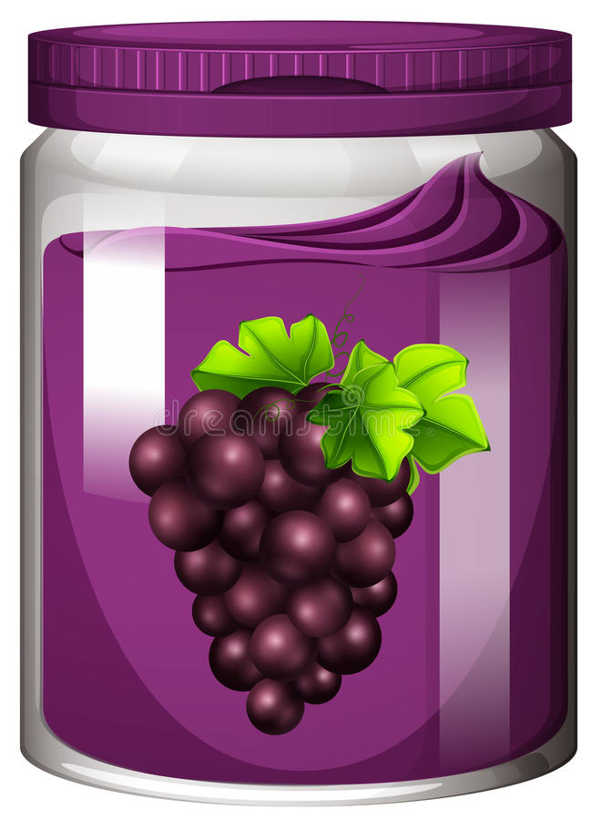 Atasco de la uva en el tarro ilustración del vector