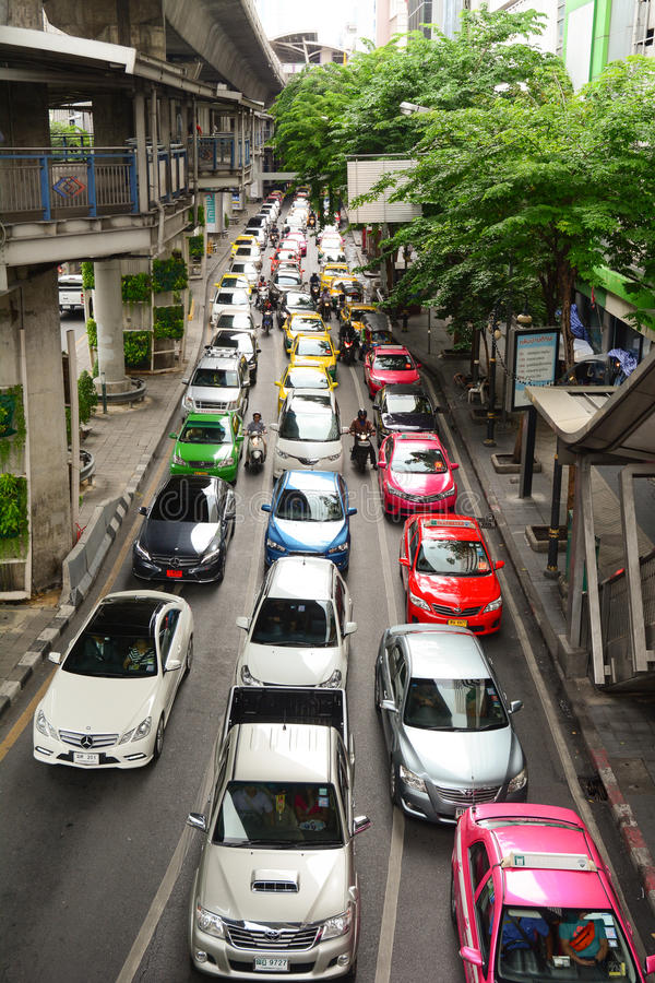 Atasco diario por la tarde en Bangkok fotografía de archivo libre de regalías