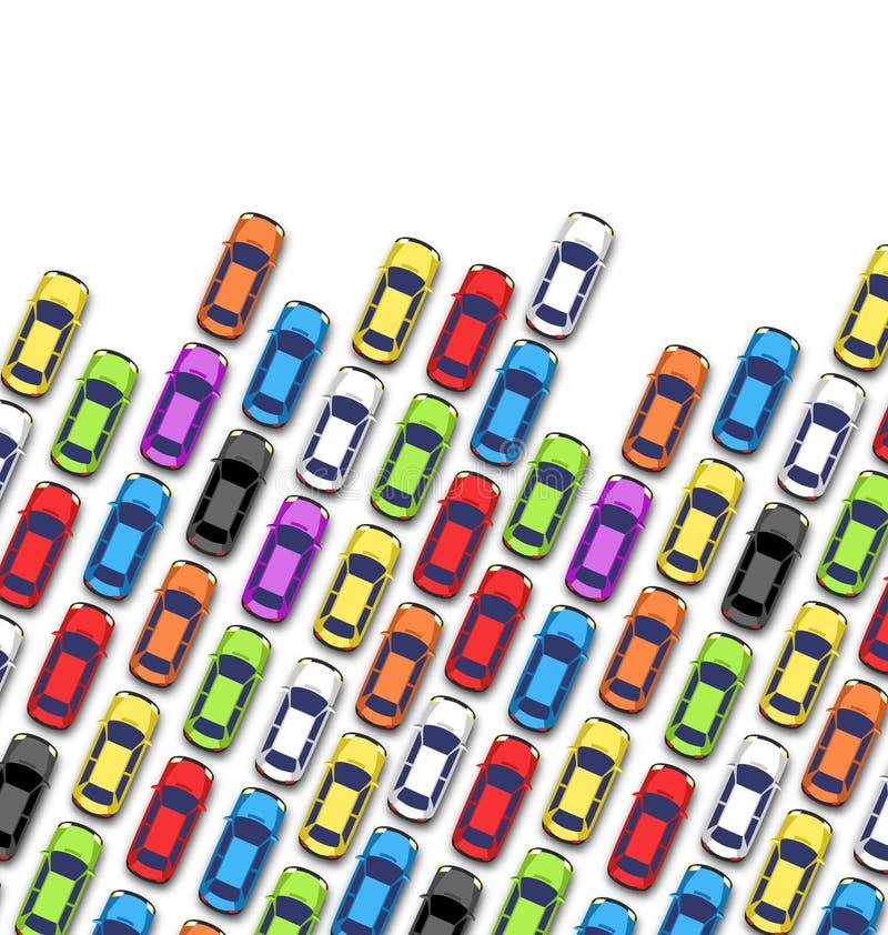 Atasco en el camino con los coches en blanco ilustración del vector