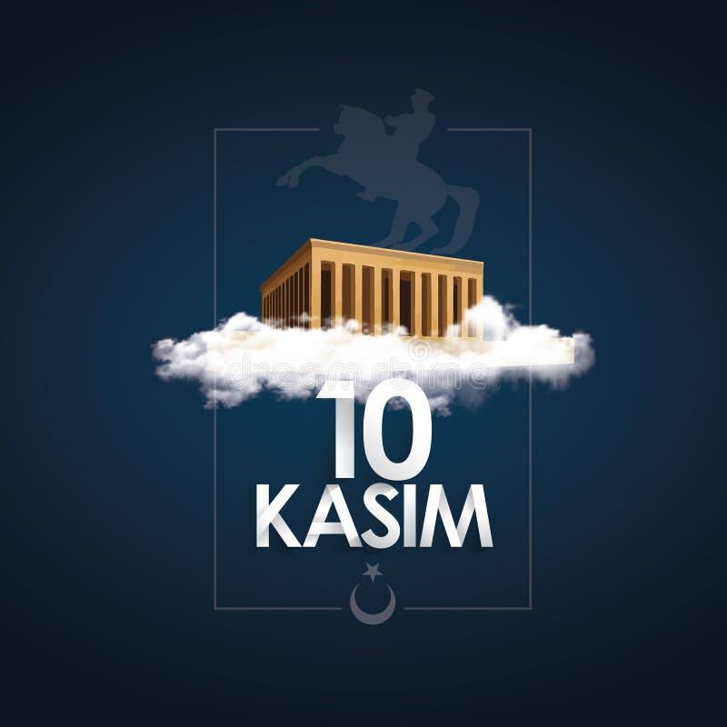 Ataturk śmierci rocznica 10 Kasim, Listopad - 10 - Święto Państwowe pamięć w Turcja royalty ilustracja