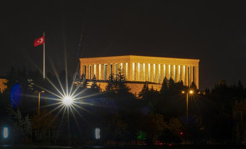 Ataturk Mausoleum at night, Anitkabir, monumental tomb of Mustafa Kemal Ataturk, first president of Turkey in Ankara royalty free stock photography
