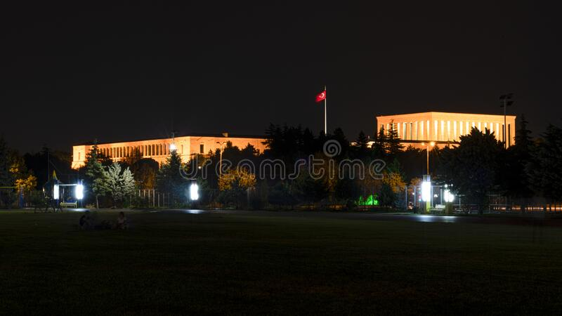 Ataturk Mausoleum at night, Anitkabir, monumental tomb of Mustafa Kemal Ataturk, first president of Turkey in Ankara stock image