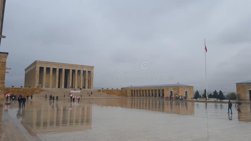 Ataturk` s Mausoleum met Bezinning, Turkije royalty-vrije stock foto's