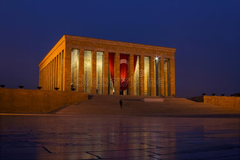 Ataturk`s Mausoleum with Turkish flag in Ankara by night royalty free stock image