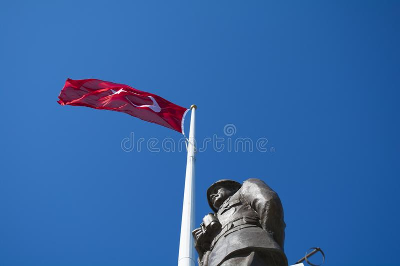 Ataturk Statue and Turkish Flag in Conk Bayiri, Gallipoli. royalty free stock photos
