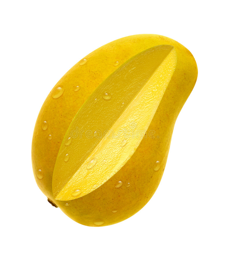 Ataulfo Mango Slice (with clipping path). Ataulfo Mango Slice on a white background with a clipping path. Isolation is on a transparent layer in the PNG format stock photography