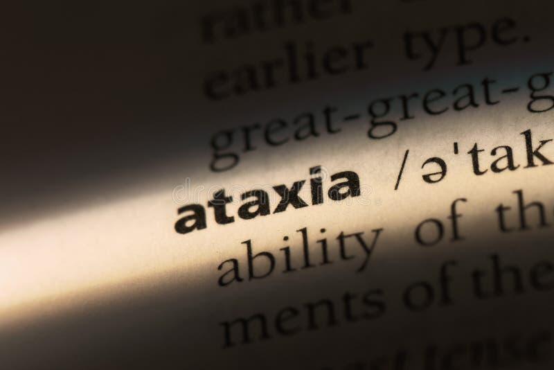 Ataxia. Word in a dictionary.  concept royalty free stock photos