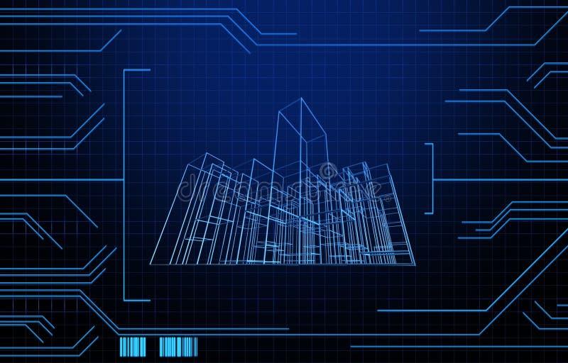 Ate con alambre el edificio de marco en fondo de la tecnología stock de ilustración