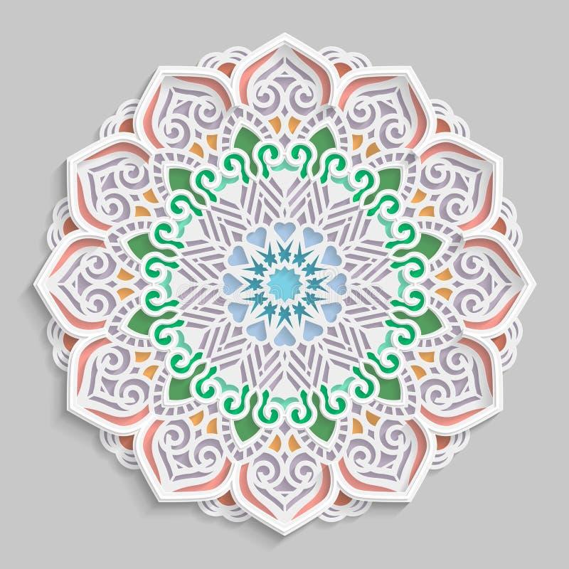 Ate 3D a mandala, teste padrão a céu aberto simétrico redondo, doily laçado, floco de neve decorativo, ornamento árabe, ornamento ilustração royalty free