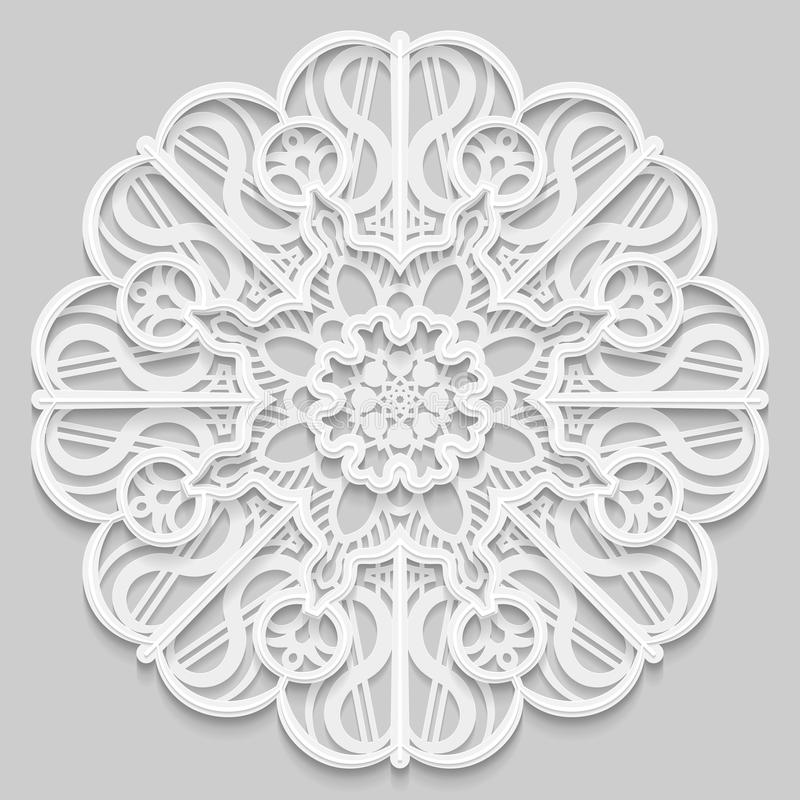 Ate 3D a mandala, teste padrão a céu aberto simétrico redondo, doily laçado, floco de neve decorativo, ornamento árabe, ornamento ilustração do vetor