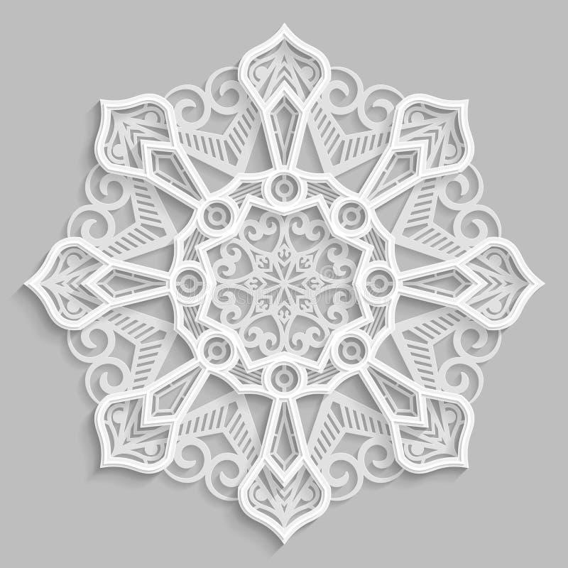 Ate 3D a mandala, teste padrão a céu aberto simétrico redondo, floco de neve decorativo, ornamento árabe, elemento decorativo do  ilustração royalty free