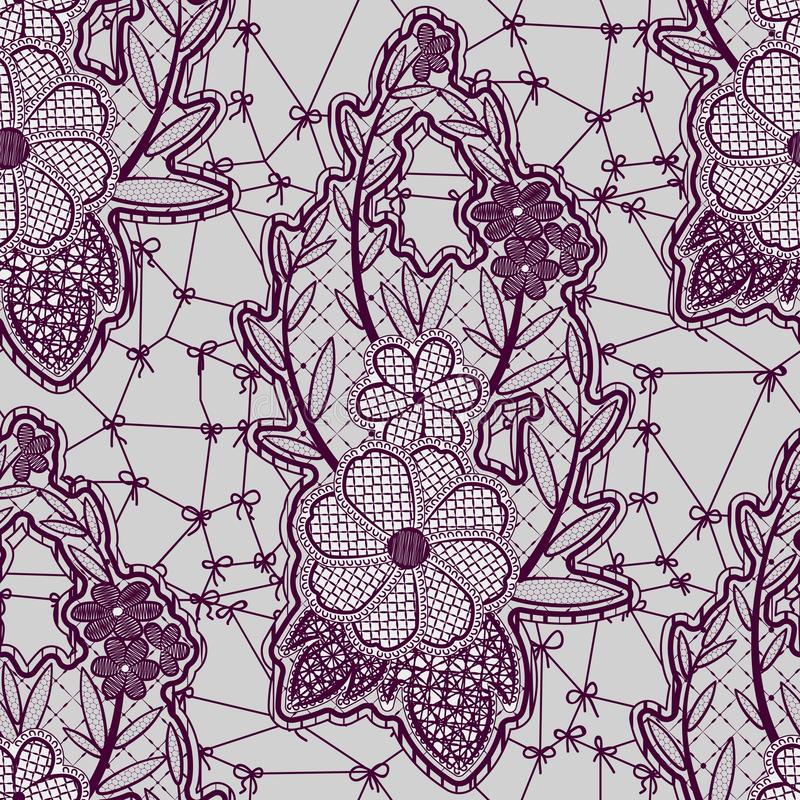 Ate el modelo inconsútil de la lila con las flores en un fondo gris ilustración del vector