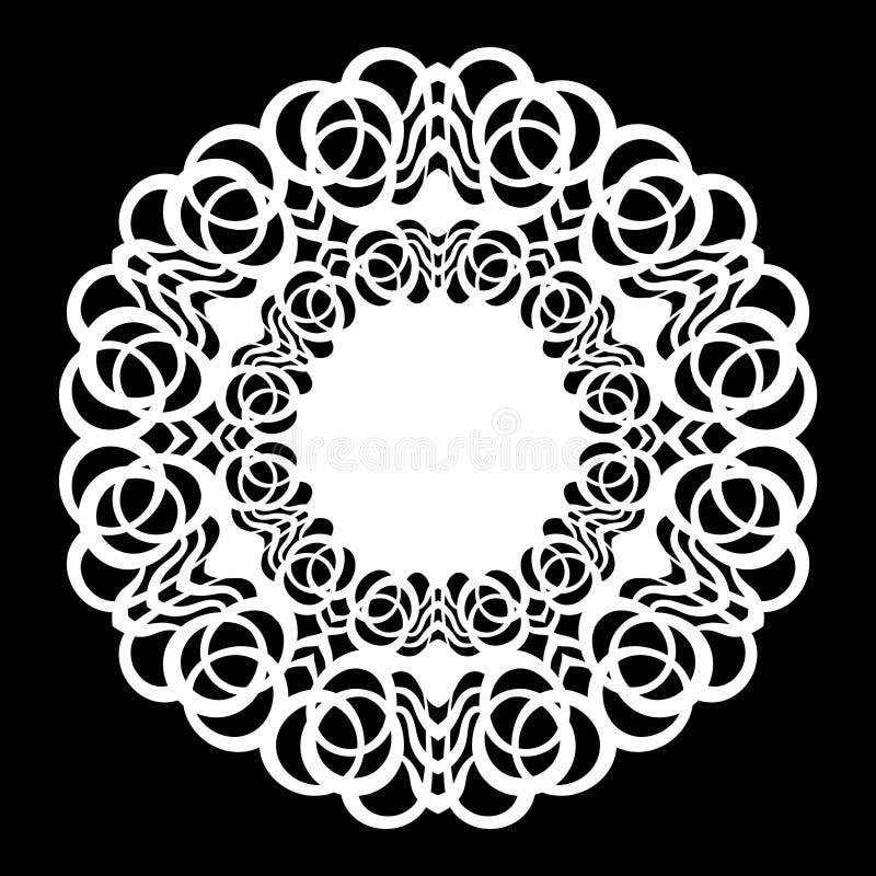 Ate em volta do doily de papel, floco de neve laçado, cumprimentando o elemento, molde de corte do laser, doily para decorar o bo ilustração royalty free