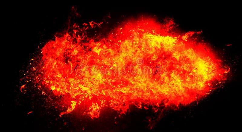 Ateie fogo à explosão no fundo preto, uma versão mais vermelha imagem de stock